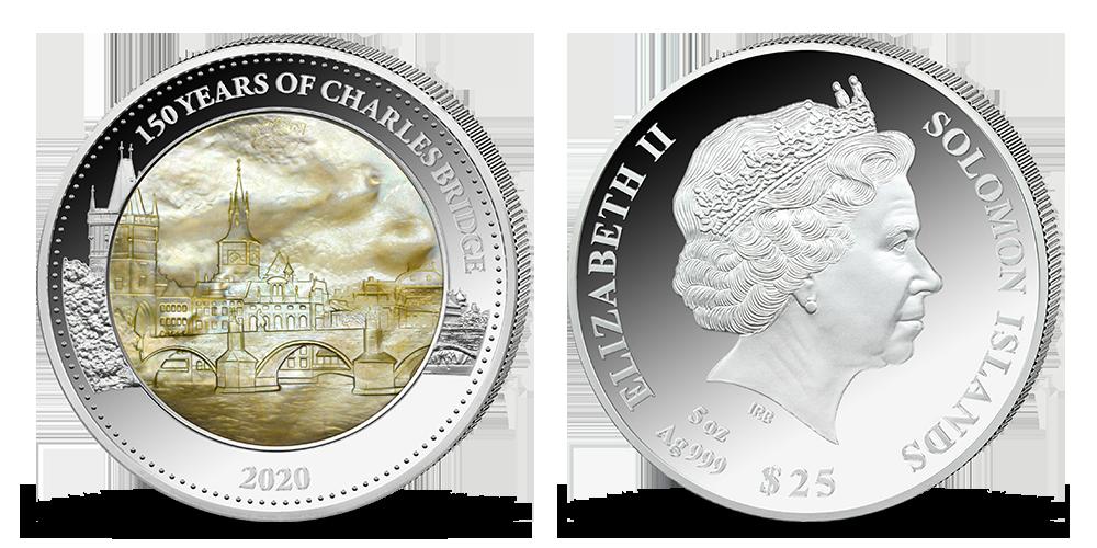 Karlov most na pamätnej minci v 5 unciach rýdzeho striebra