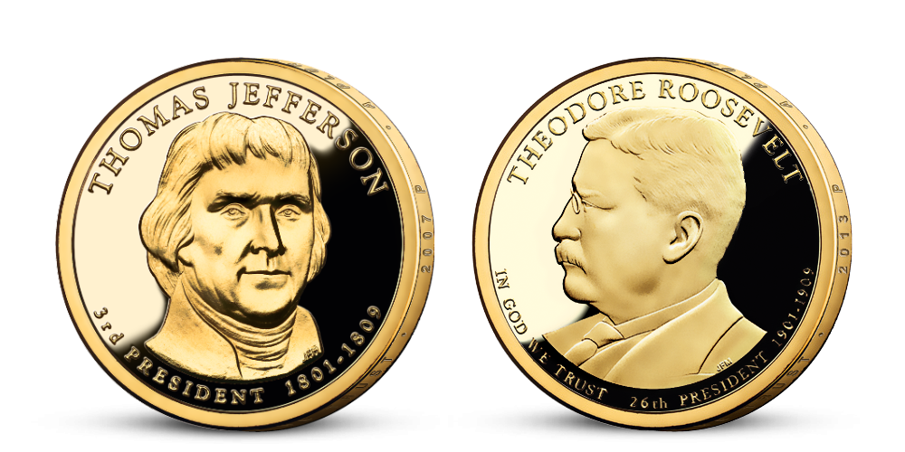 Prezidentské doláre T. Jefferson a T. Roosevelt