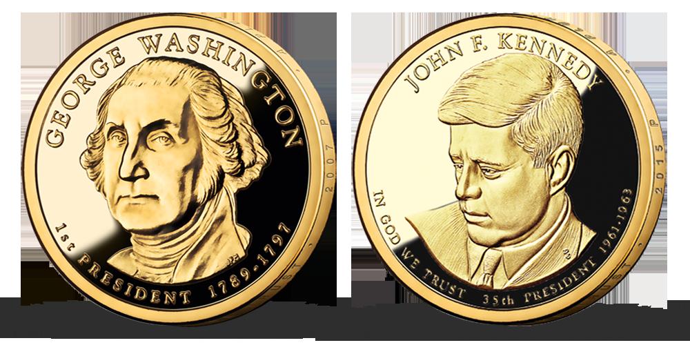 Prezidentské doláre G. Washington a J. F. Kennedy - mince zušľachtené rýdzim zlatom