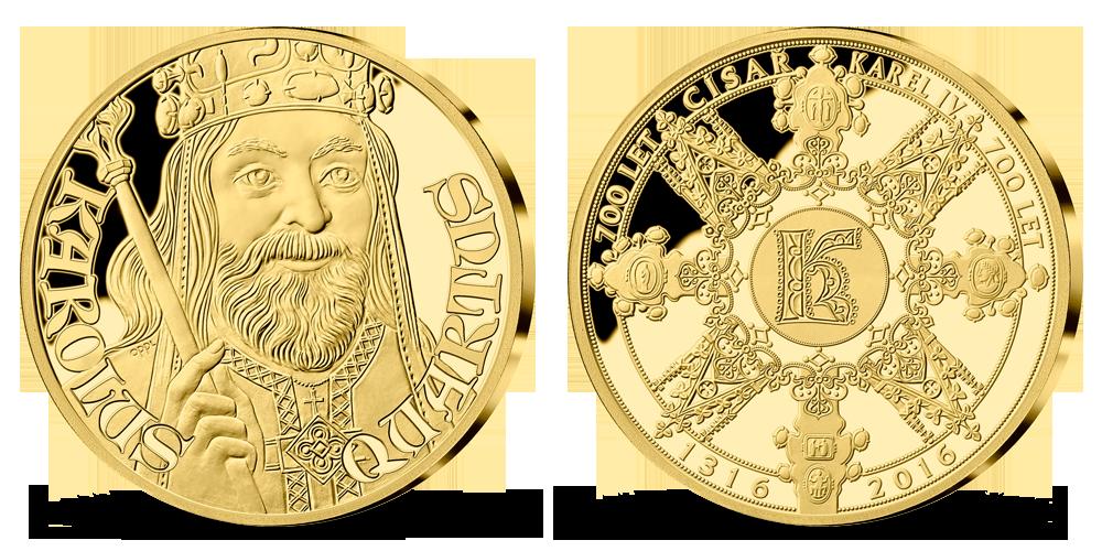 700. Výročie narodenia Karola IV., medaila zo 14-karátového zlata