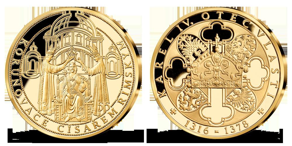 Korunovácia za rímskeho cisára, medaila plátovaná rýdzim zlatom
