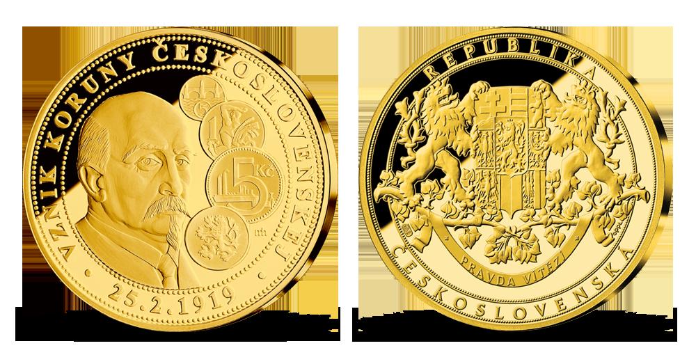 Alois Rašín na zlatej medaile k 100. výročiu československej meny