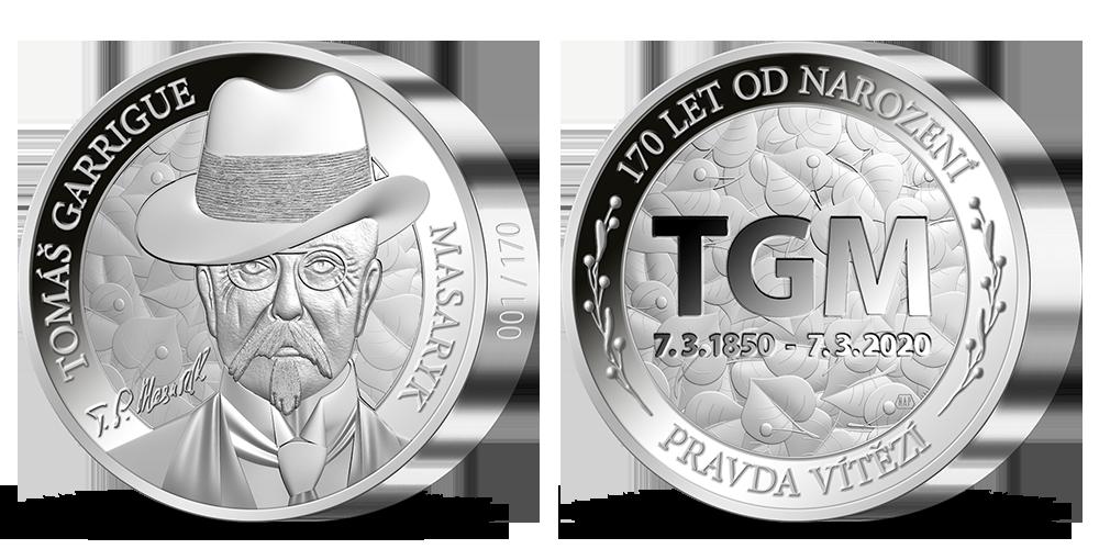 Tomáš Garrigue Masaryk na numizmate z 1 kg rýdzeho striebra