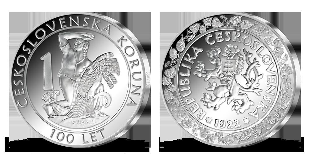 100. výročie založenia československej meny na 2 unciach rýdzeho striebra