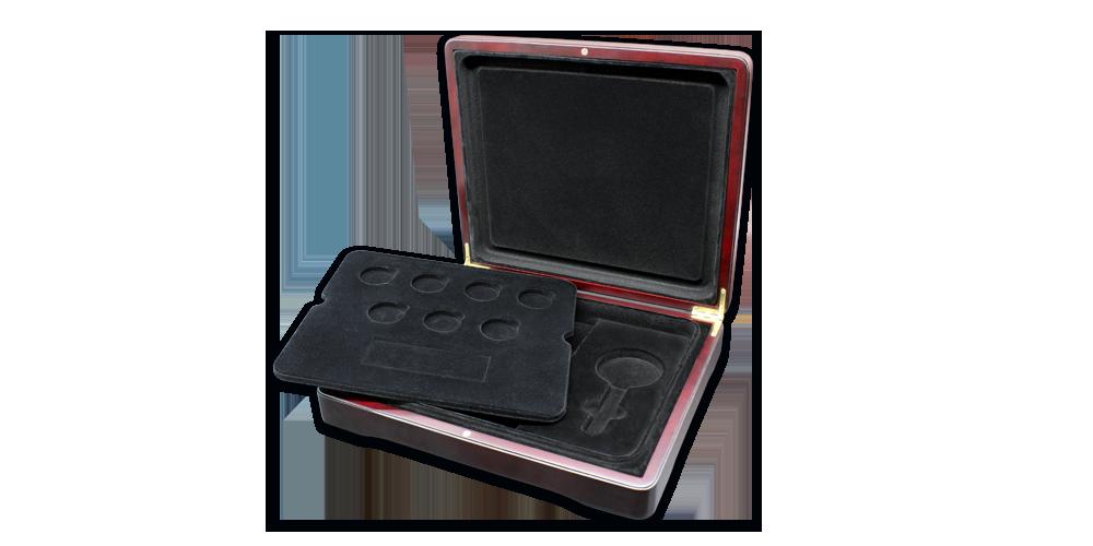Zberateľský box s čiernou výplňou