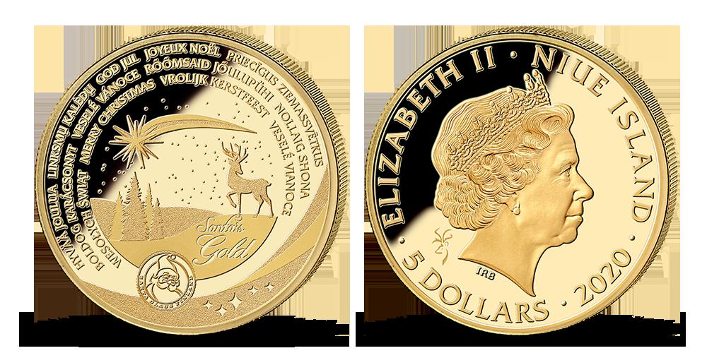 Vianočná minca v 1/10 oz rýdzeho zlata vo veľmi nízkej limitácii