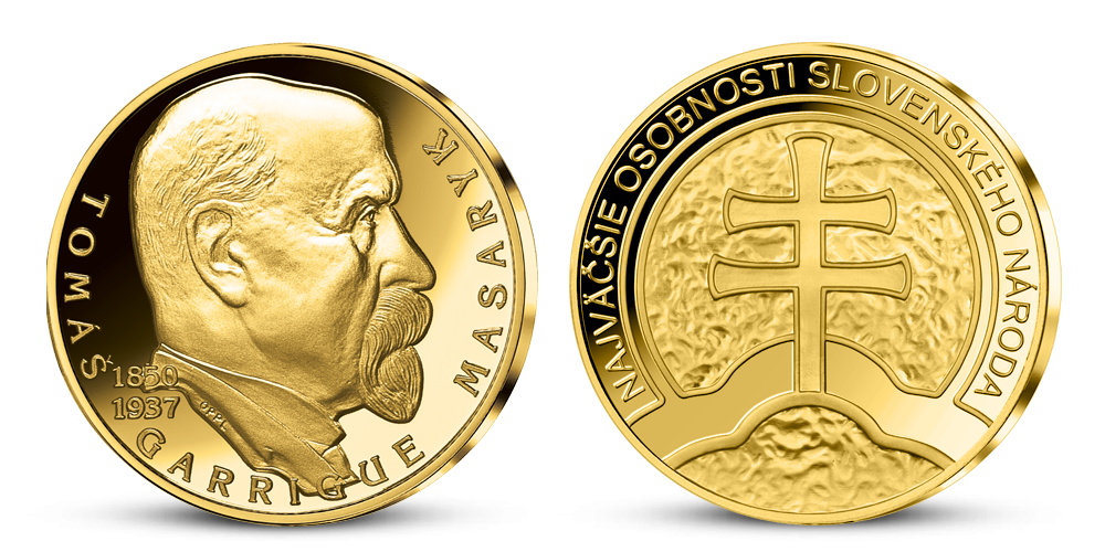 T. G. Masaryk na zlatej medaile k 100. výročiu Československa