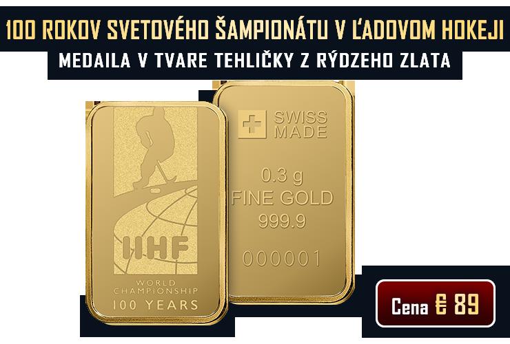 Zlatá medaila v tvare tehličky