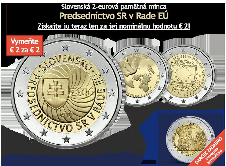 Slovenská 2-eurová pamätná minca Predsedníctvo SR v Rade EÚ len za nominálnu hodnotu € 2!