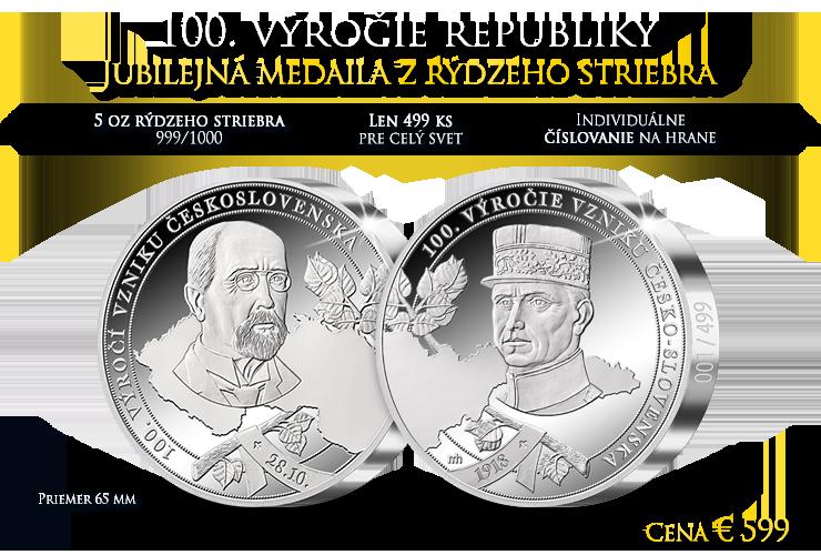 100. výročie Česko-Slovenska na 5tich unciach rýdzeho striebra