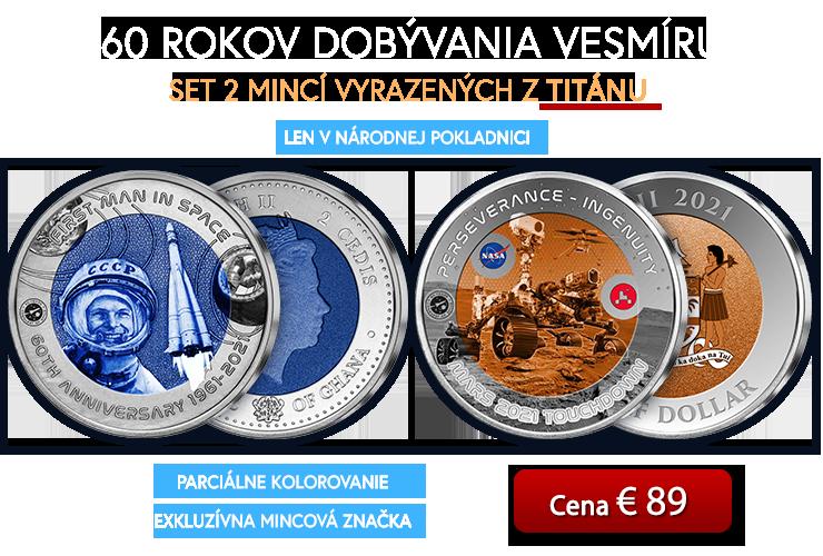 Set 2 titánových mincí