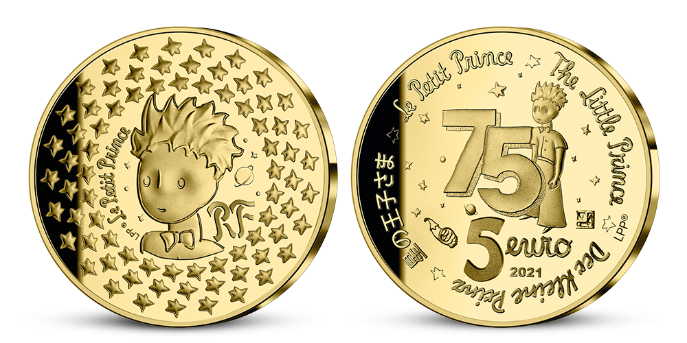 Zlatá minca 75. výročie Malého princa