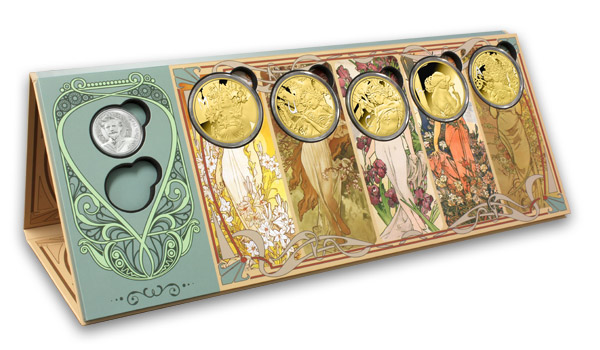 Numizmatický zakladač pre kolekcii Alfons Mucha