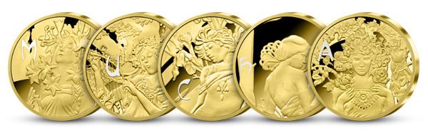 Ikonické diela majstra secesie Alfons Mucha na medailách zušľachtených rýdzim zlatom