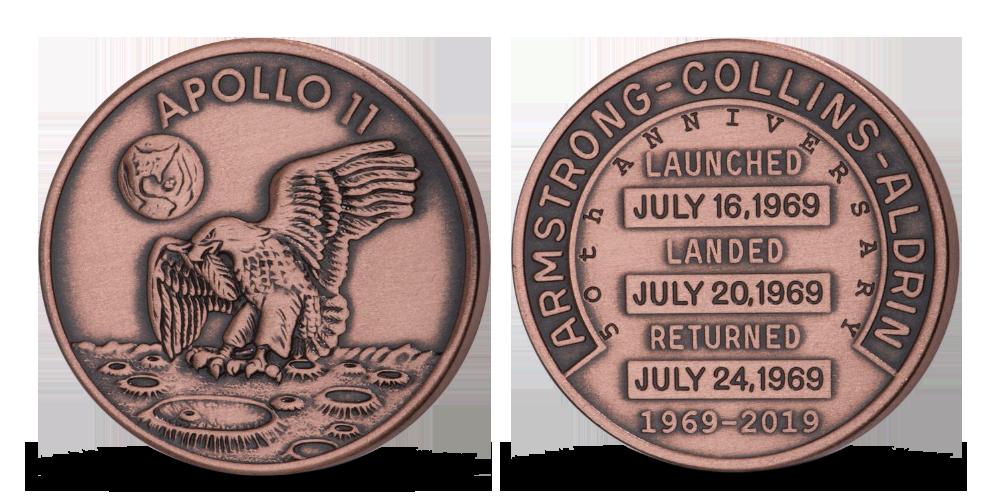 Pamätná medaila k výročiu pristátia na Mesiaci v jednej unci medi