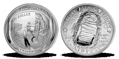 Apollo 11 strieborná konkávná minca