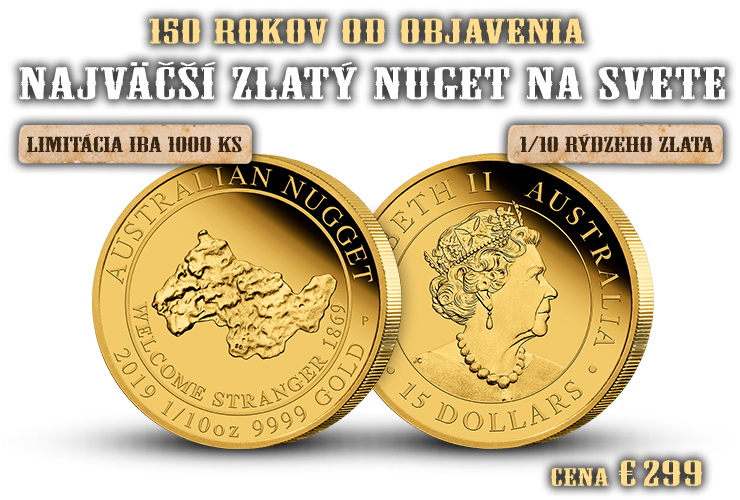 Austrálsky zlatý nuget na minci z rýdzeho zlata