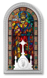 Stireborná minca s vitrážou sv Štefana