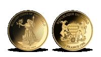 Kráčajuca bohyne Slobody na zlatej minci