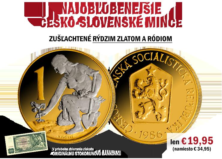 Najobľúbenejšie česko-slovenské mince zušľachtené rýdzim zlatom a ródiom