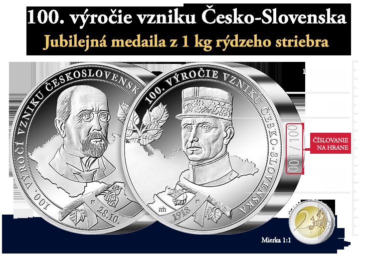 87e7f5714 100. výročie vzniku Česko-Slovenska na medaile z 1 kg striebra