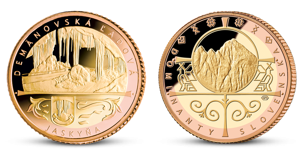 Demänovská ľadová jaskyňa zušľachtená ružovým a žltým zlatom