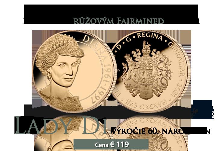 Výročie 60. narodenín princeznej Diany na minci z rýdzeho zlata