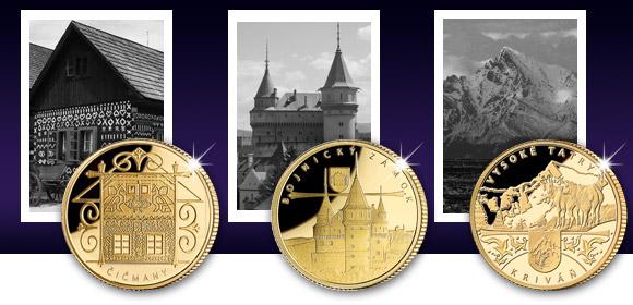 Zlaté pamätné medaily Čičmany, Bojnice a Kriváň