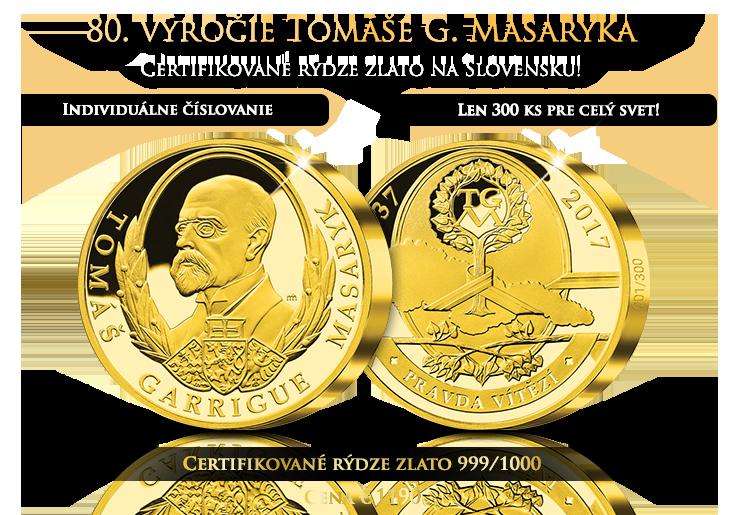 80. výročie T. G. Masaryka z Certifikovaného zlata