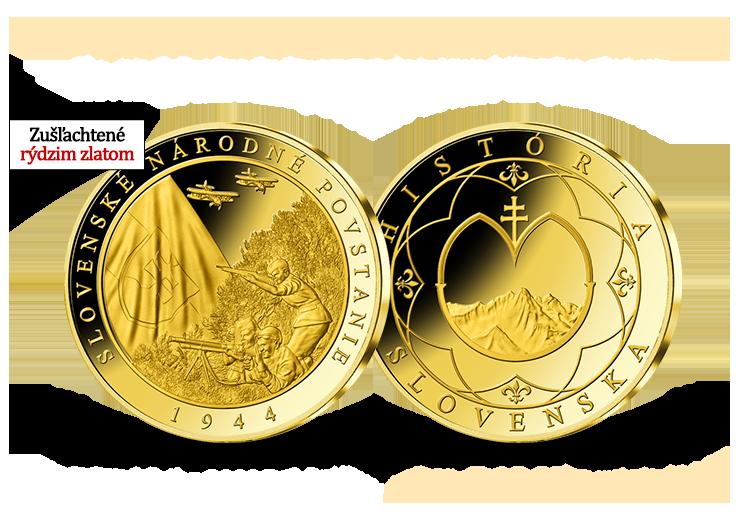 Slovenské národné povstanie - pamätná medaila zušľachtená 24-karátovým zlatom!
