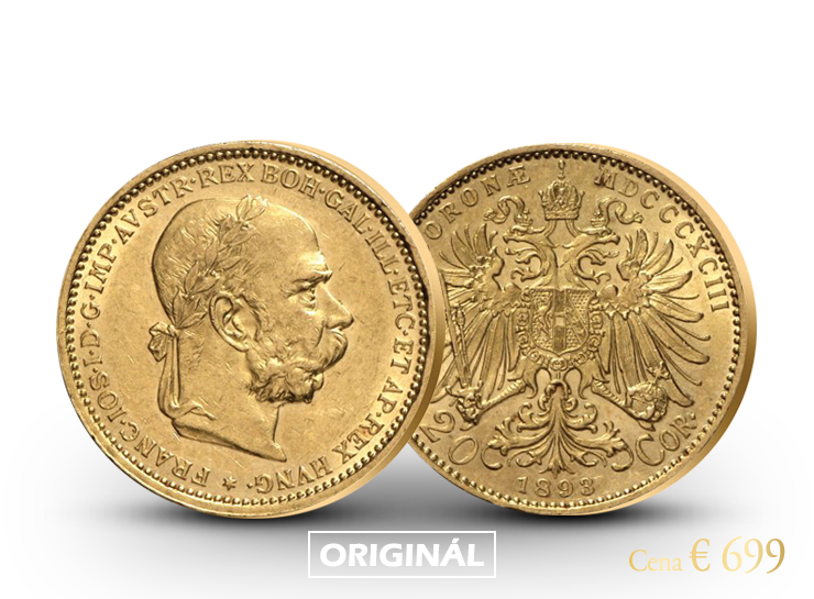 Jediná zlatá 20 koruna Františka Jozefa I. s vavrínovým vencom
