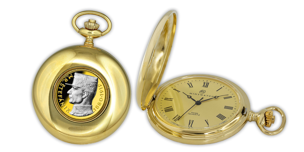 Vreckové hodinky s mincou M.R. Štefánik zušľachtené 24-karátovým zlatom