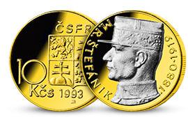 Historická minca zušľachtená rýdzim zlatom a vzácnym ródiom