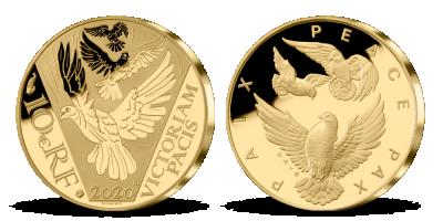 Zlatá holubica mieru na minci z certifikovaného zlata