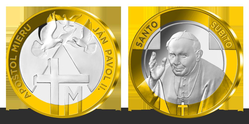 Pamätná medaila Ján Pavol II. zušľachtená rýdzim zlatom a striebrom