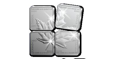 Javorový list zložený zo štyroch mincí