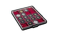 Kazeta na mince MB ve svetle šedej barve s červeným zásobníkom