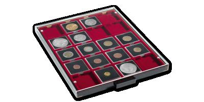 Kazeta na mince MB vo svetle šedej farby s červeným zásobníkom