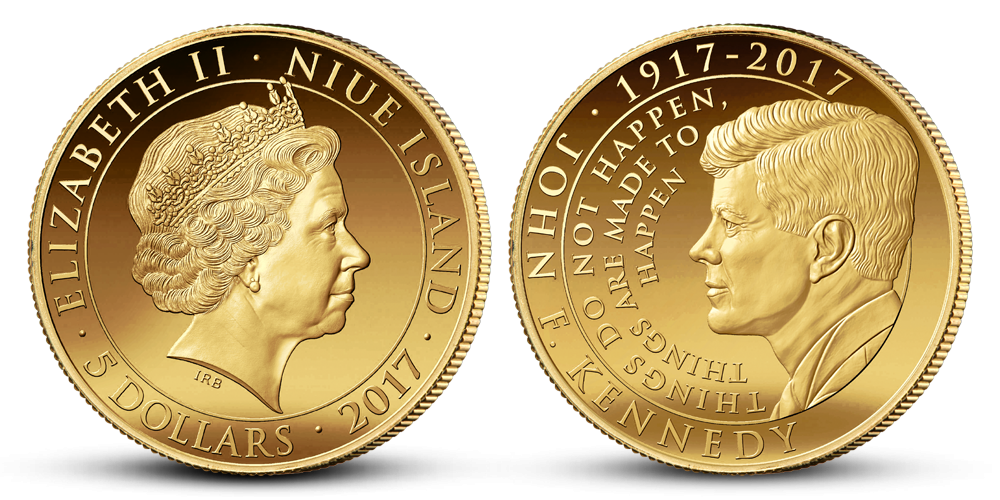 100. výročie J. F. Kennedyho 1/10 uncová zlatá minca