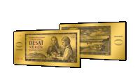 Replika 10 Kčs bankovky z rýdzeho zlata