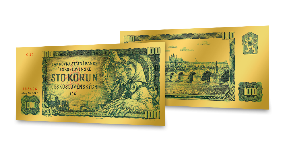 Replika legendárnej zelenej 100 Kčs bankovky z rýdzeho zlata