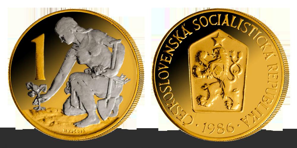 1 Kčs - Česko-slovenská minca zušľachtená rýdzim zlatom a ródiom