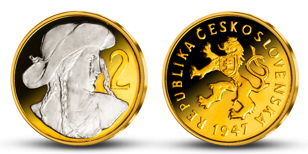 2 Kčs - Česko-slovenská minca zušľachtená rýdzim zlatom a ródiom