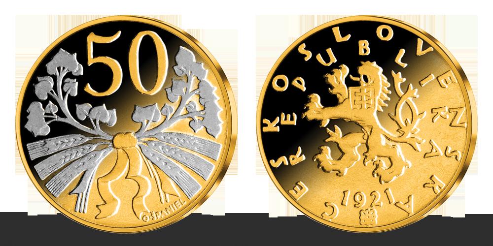 50 haliérov - Česko-slovenská minca zušľachtená rýdzim zlatom a ródiom