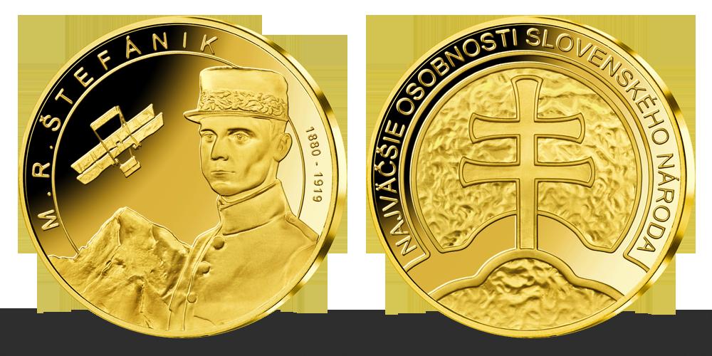 Pozlátená pamätná medaila - M. R. Štefanik