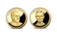 Prezidentské doláre F. D Roosevelt a A. Lincoln