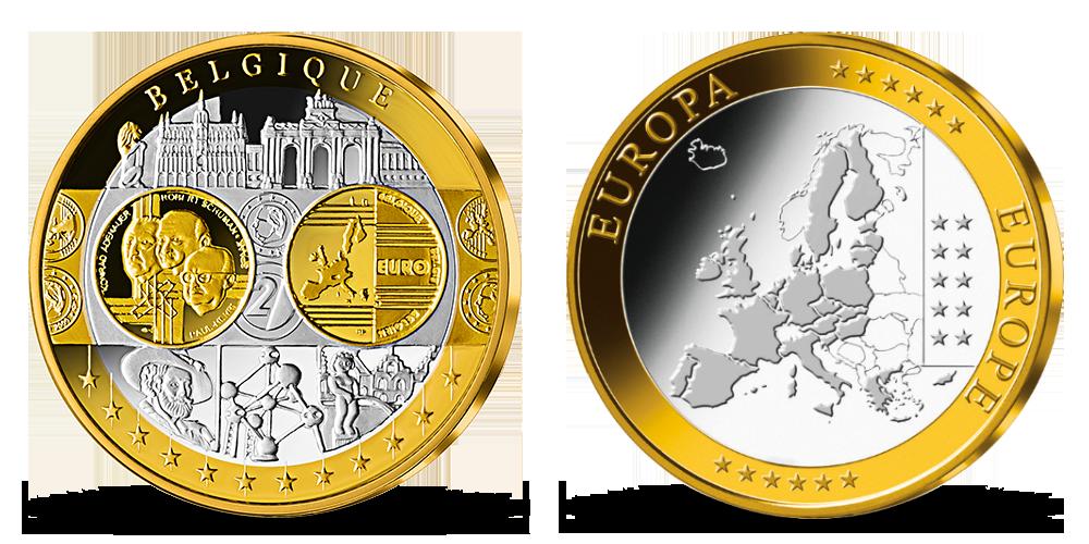 Pamätná medaila Belgicko z kolekcie Prvá spoločná európska mena