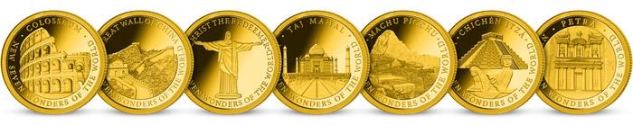 Kolekcia 7 nových divov sveta -  minca z rýdzeho zlata 999/1000