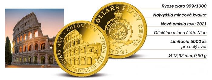 Zlatá minca Koloseum - 7 nových divov sveta