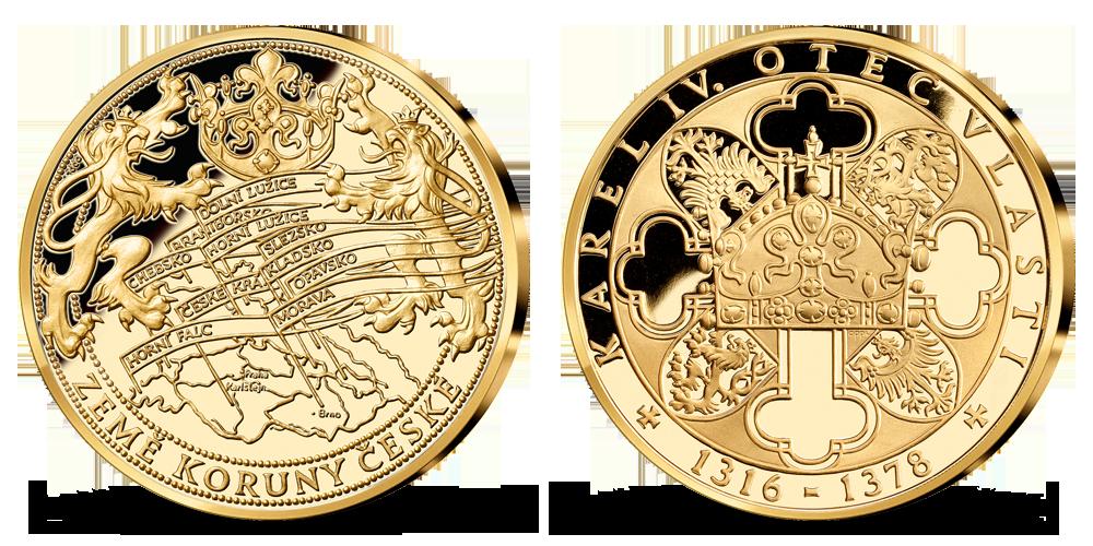 Krajiny Českej koruny, medaila plátovaná rýdzim zlatom